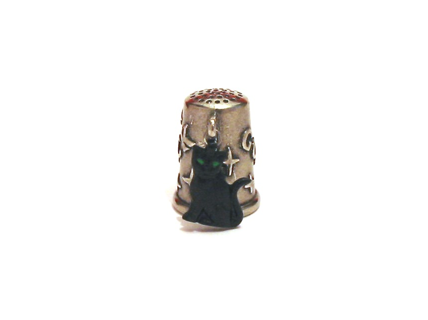 Black Cat Thimble Good Luck Charm Collectible Thimble