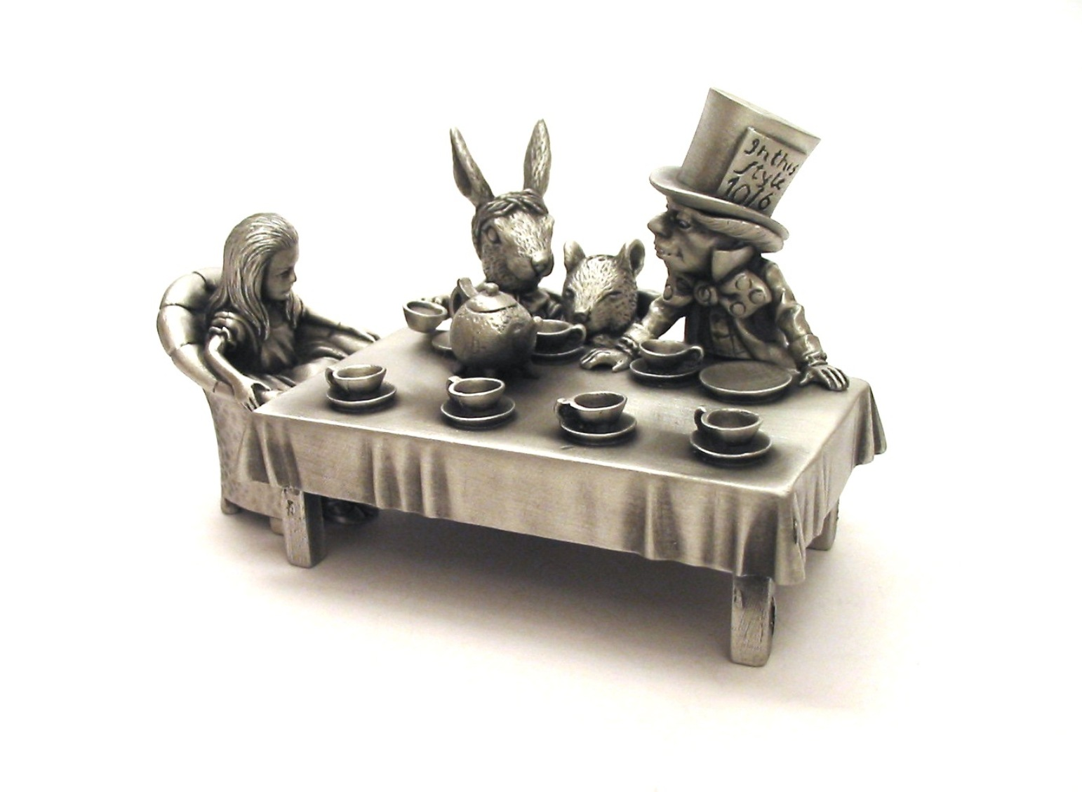 Mad Hatter's Tea Party Pewter Thimble Diorama Collectable Gift