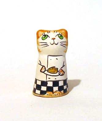 Chef Pottery Thimble Cat Caricature Collectible Thimble Gift