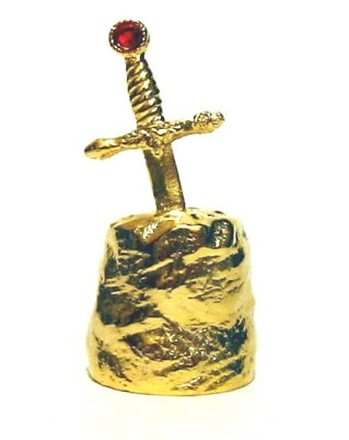 Excalibur Thimble Gold Plated Pewter Collectable Thimble