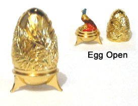 Bird of Paradise Gold plated Egg Thimble Collectable