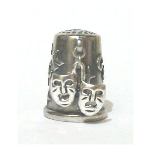 The Comedy Tradgedy Masks Silver Charm Thimble