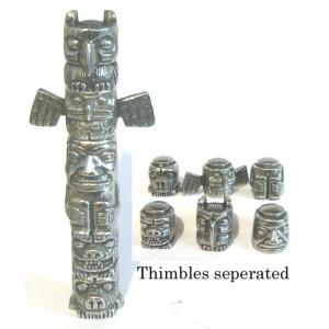 Totem Pole Thimble Set Pewter Collectible Thimble Gift