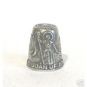 St. Joan of Arc Patron Saint of Soldiers Pewter Thimble